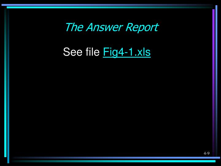 The Answer Report