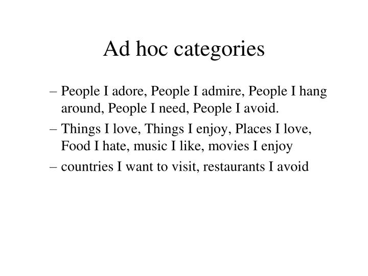 Ad hoc categories
