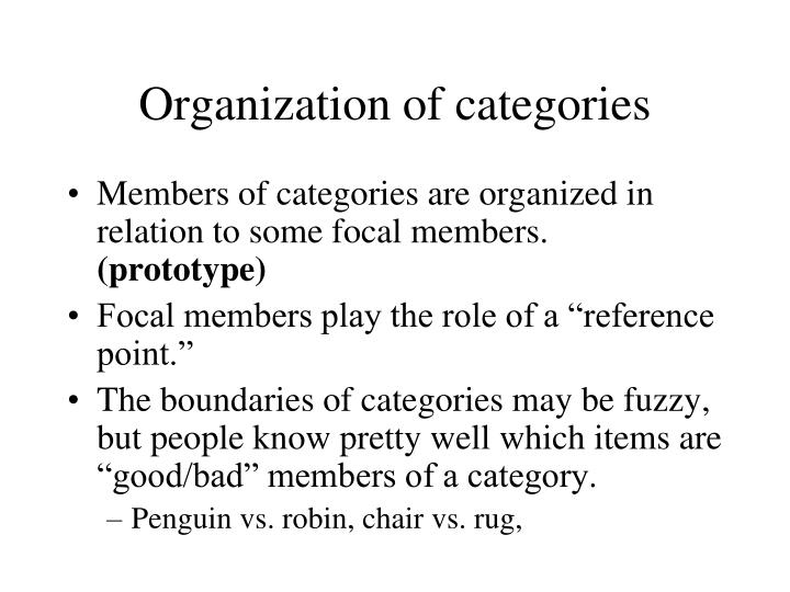 Organization of categories