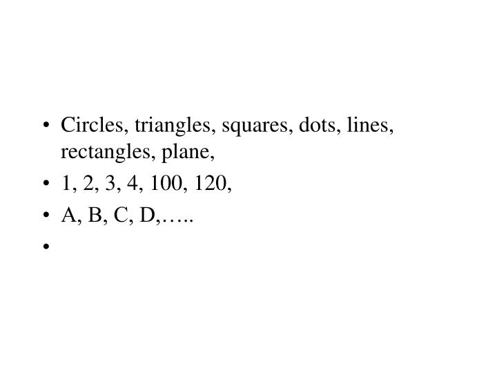 Circles, triangles, squares, dots, lines, rectangles, plane,