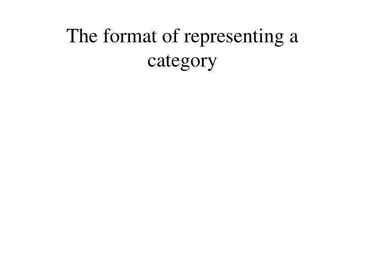 The format of representing a category