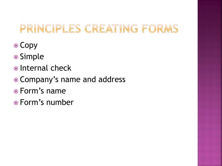 PRINCIPLES CREATING FORMS