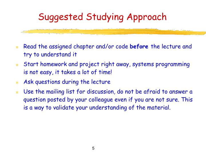 Suggested Studying Approach