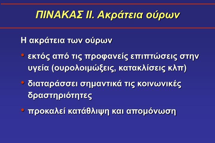 ΠΙΝΑΚΑΣ ΙΙ. Ακράτεια ούρων
