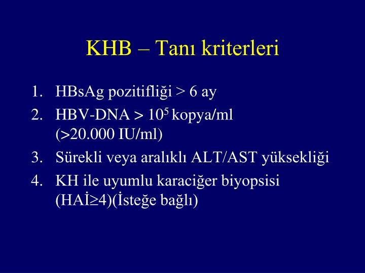 KHB – Tanı kriterleri