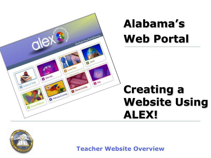 Alabama s web portal creating a website using alex