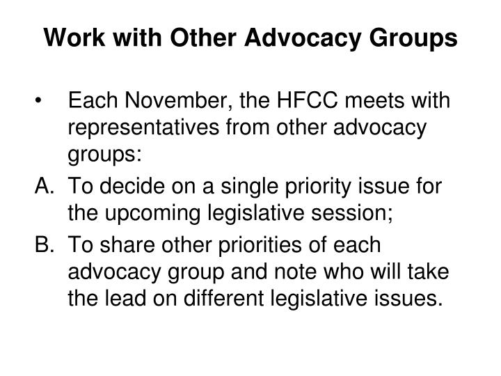 Work with Other Advocacy Groups