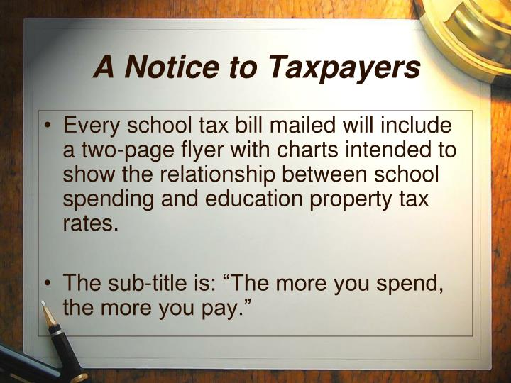 A Notice to Taxpayers