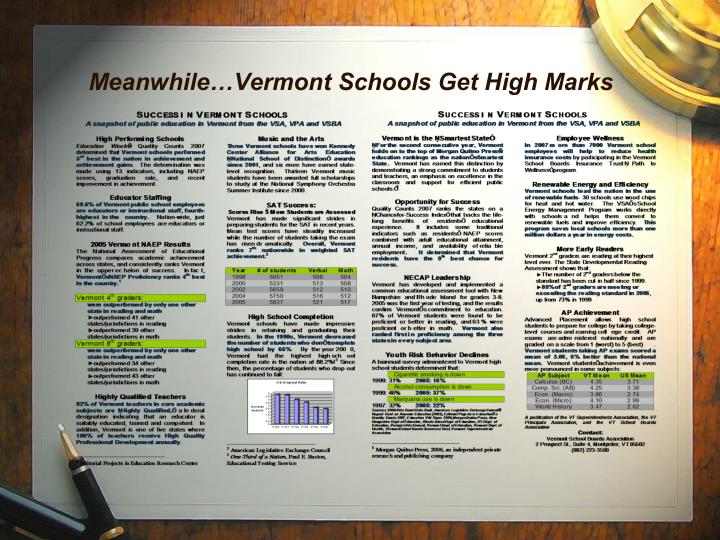 Meanwhile…Vermont Schools Get High Marks