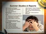 summer studies reports