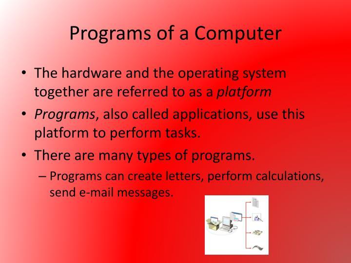 Programs of a Computer