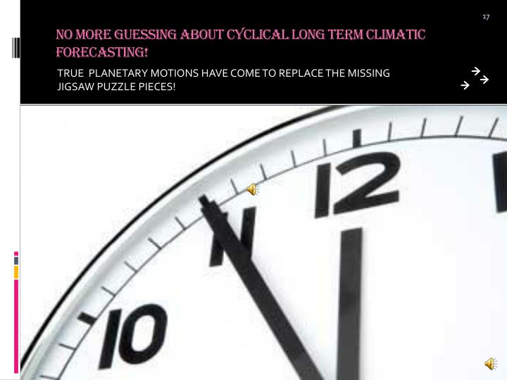 No More Guessing About Cyclical Long Term Climatic Forecasting!