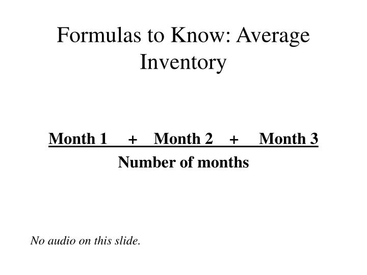Formulas to know average inventory