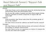 read deborah tannen s rapport talk and report talk