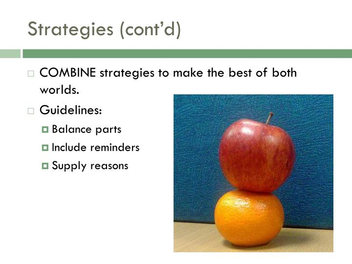 Strategies (cont'd)