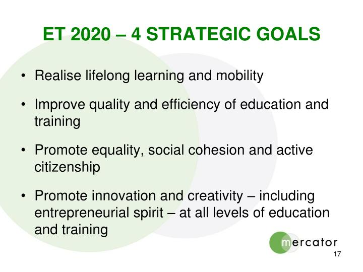 ET 2020 – 4 STRATEGIC GOALS
