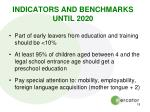 indicators and benchmarks until 2020