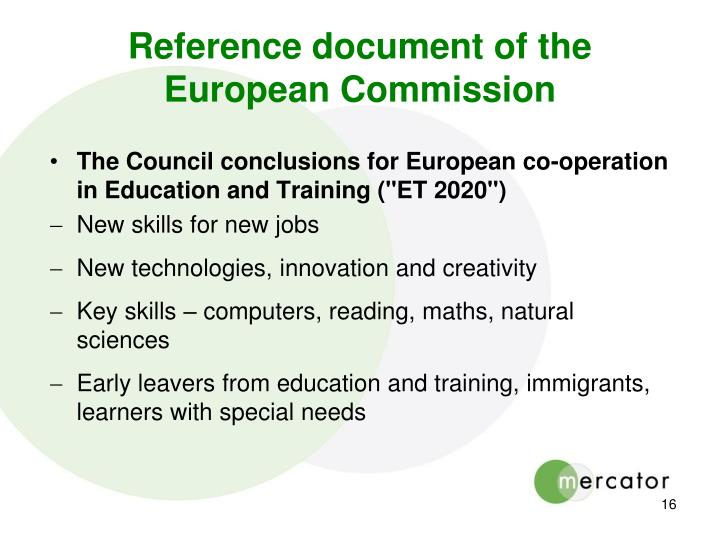 Reference document of the European Commission
