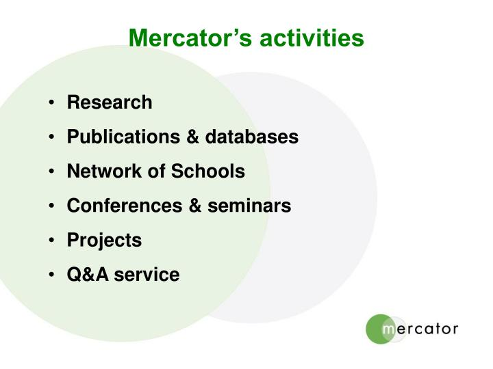 Mercator's activities