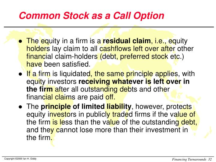 Common Stock as a Call Option