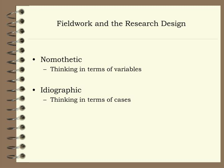 Fieldwork and the Research Design