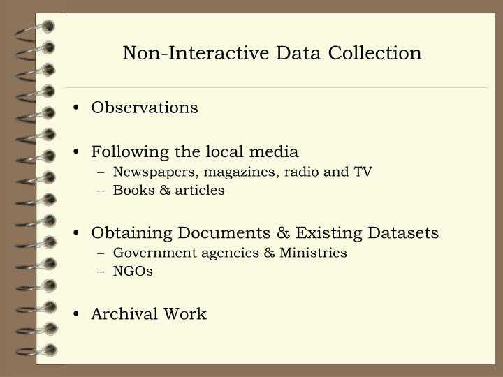 Non-Interactive Data Collection