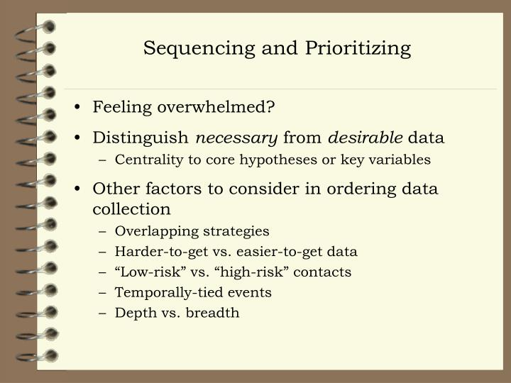 Sequencing and Prioritizing