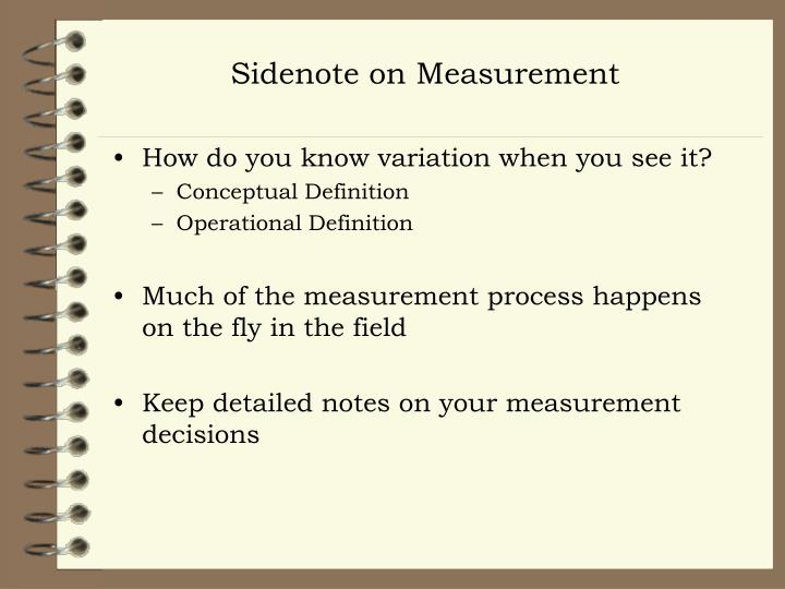 Sidenote on Measurement
