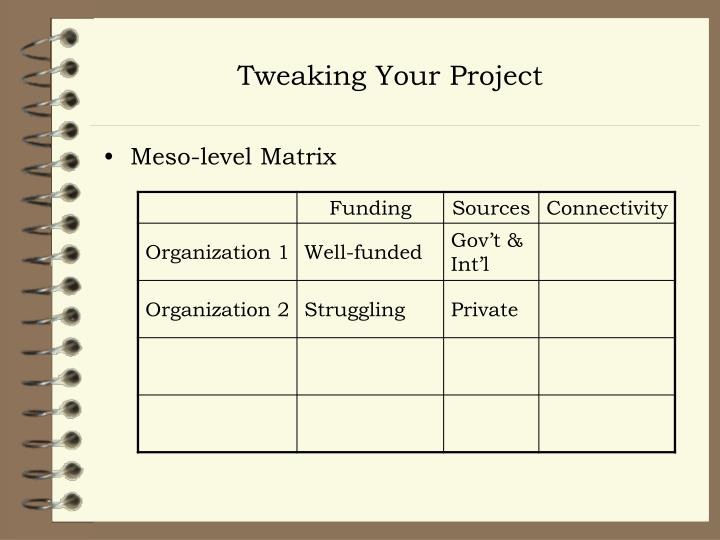 Tweaking Your Project