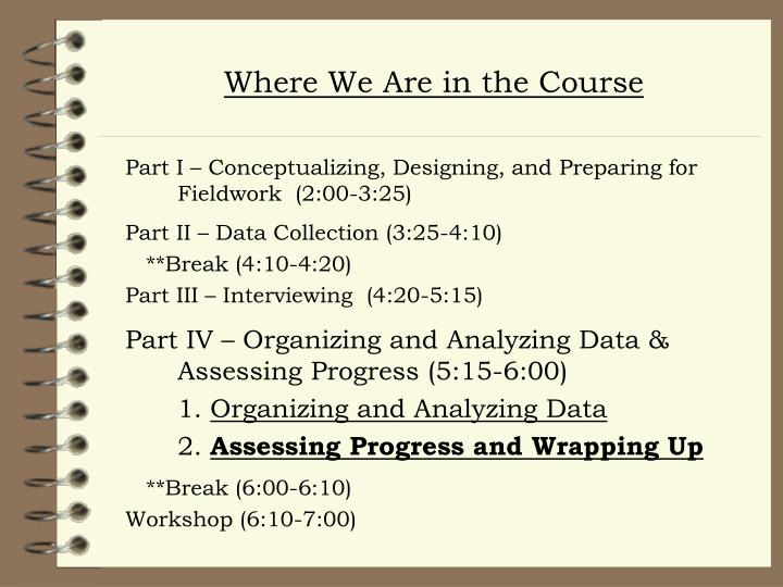 Where We Are in the Course