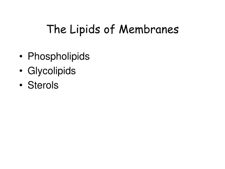 The Lipids of Membranes