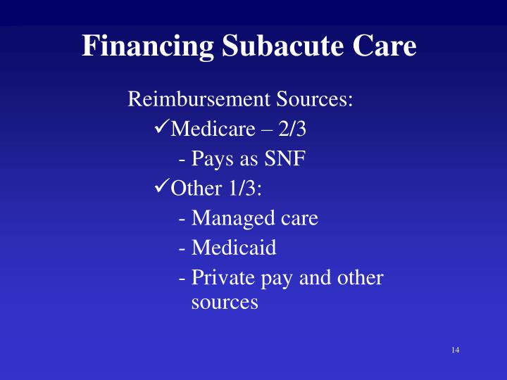 Financing Subacute Care
