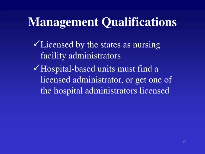 Management Qualifications