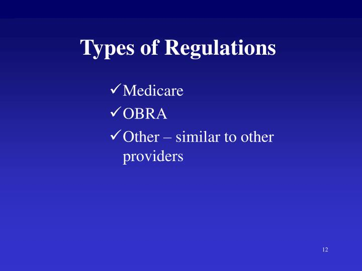 Types of Regulations