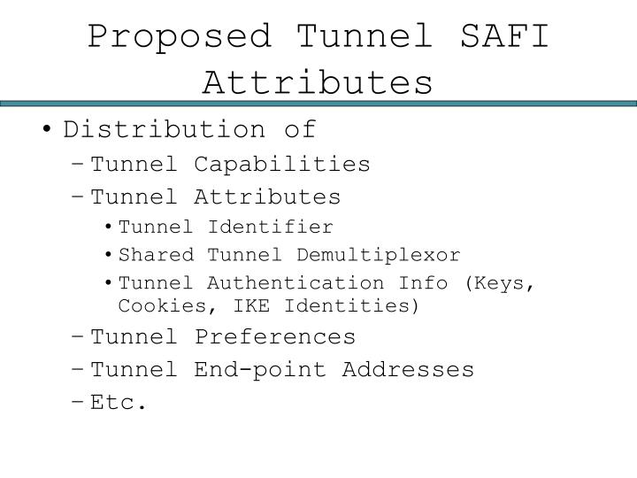 Proposed Tunnel SAFI Attributes