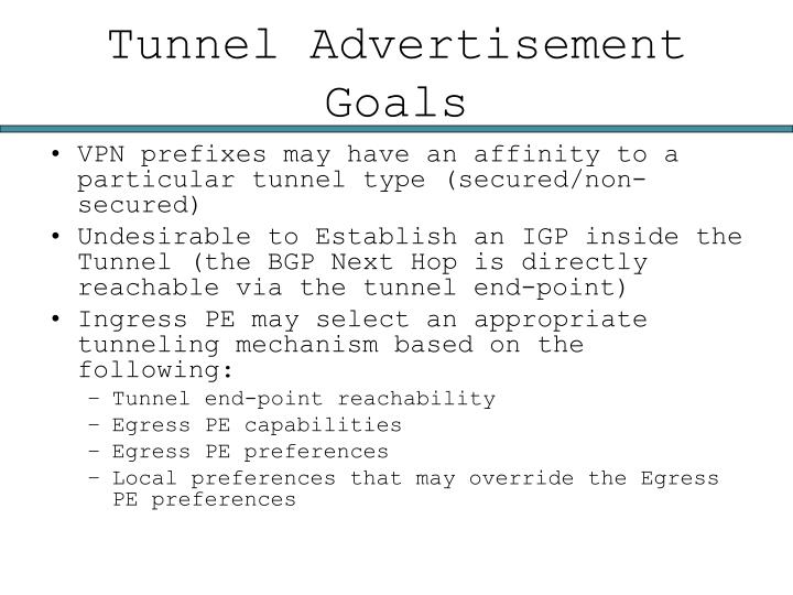 Tunnel Advertisement Goals