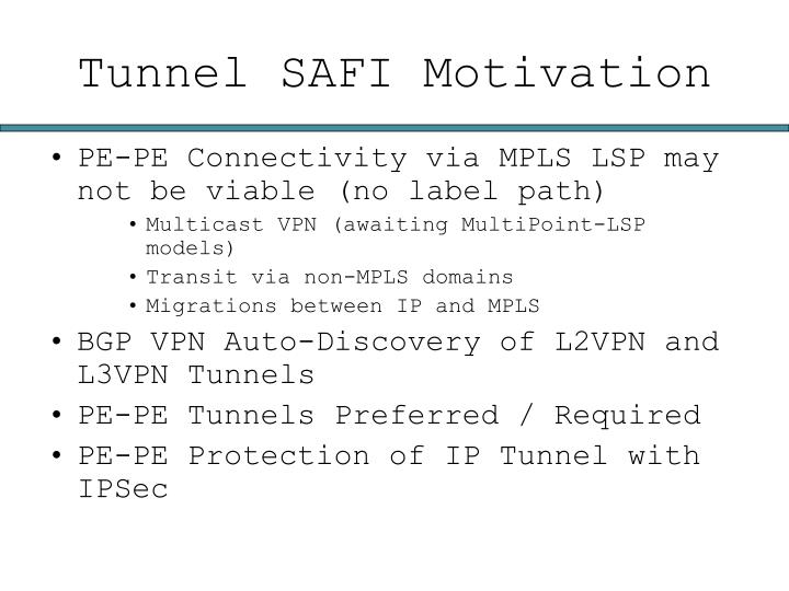 Tunnel SAFI Motivation