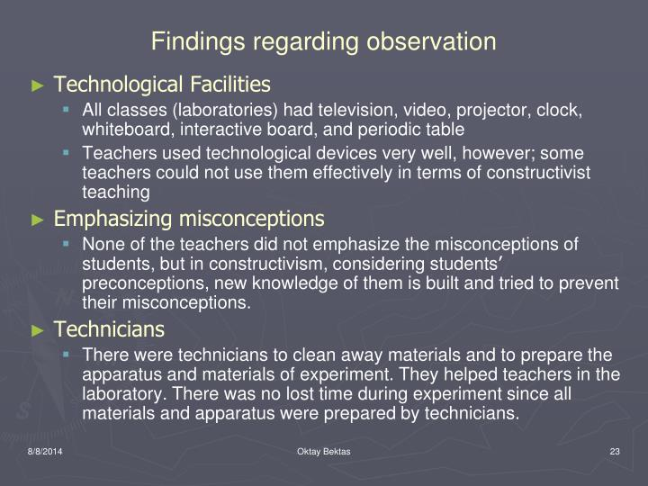 Findings regarding observation