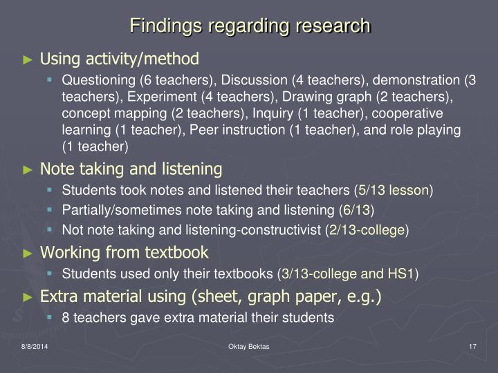 Findings regarding research