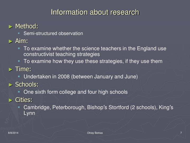 Information about research
