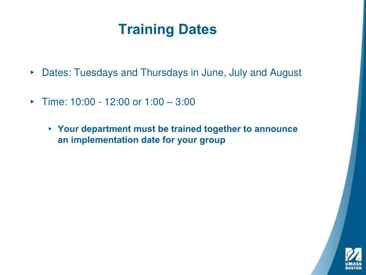 Training Dates