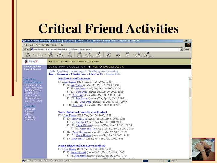 Critical Friend Activities