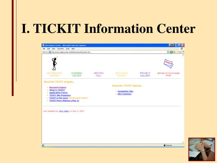I. TICKIT Information Center