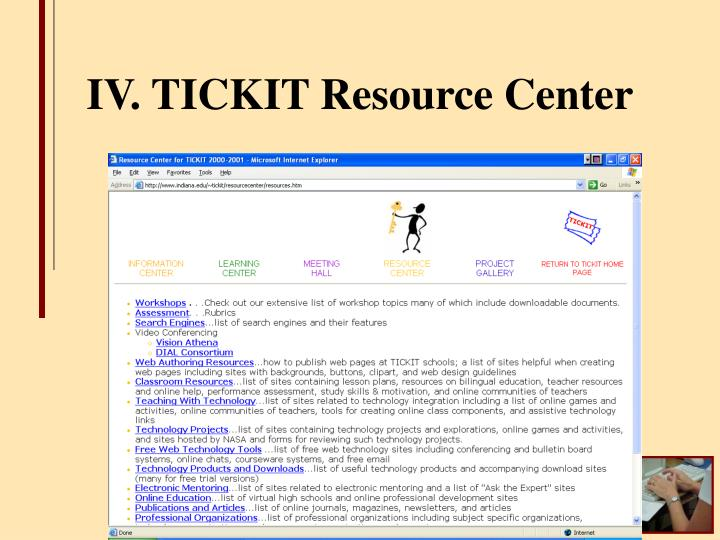 IV. TICKIT Resource Center