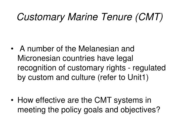 Customary Marine Tenure (CMT)