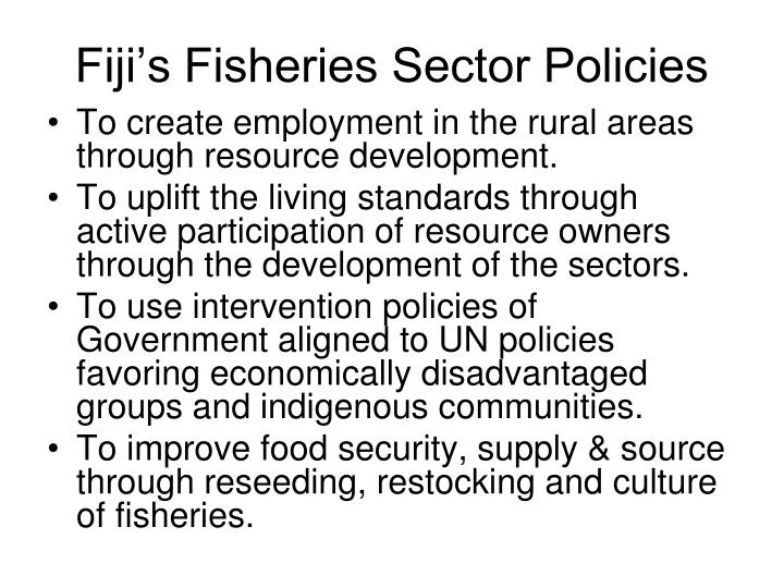 Fiji's Fisheries Sector Policies