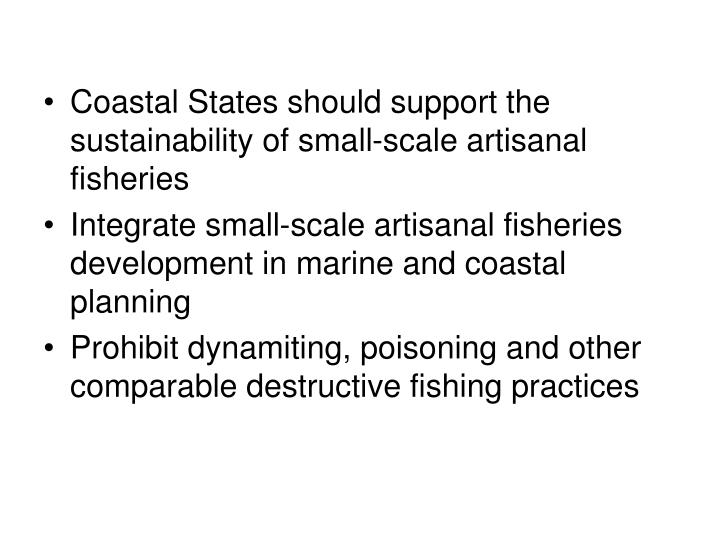 Coastal States should support the sustainability of small-scale artisanal fisheries