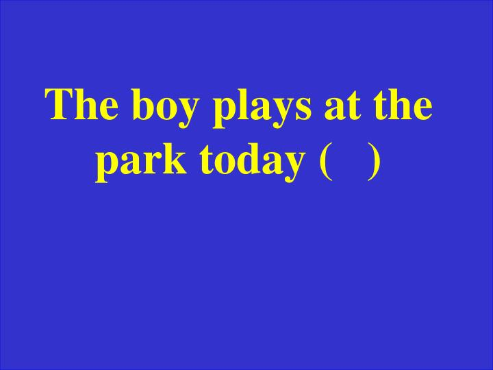 The boy plays at the park today (   )