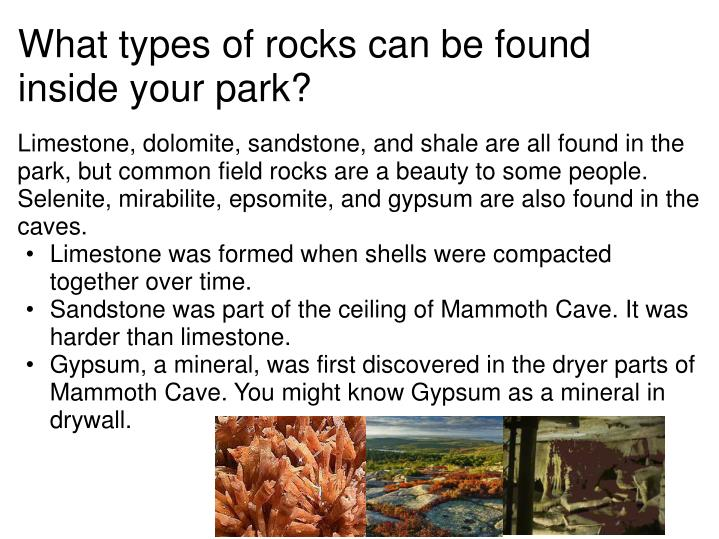 What types of rocks can be found inside your park?