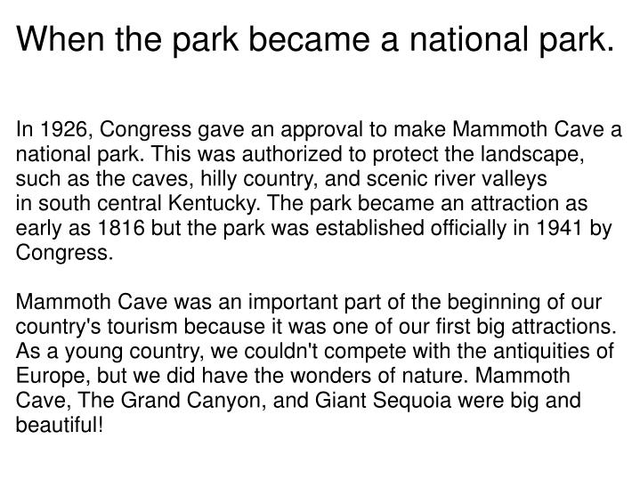 When the park became a national park